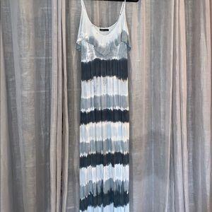Gypsy Blue Tone Tie Dye Maxi Dress